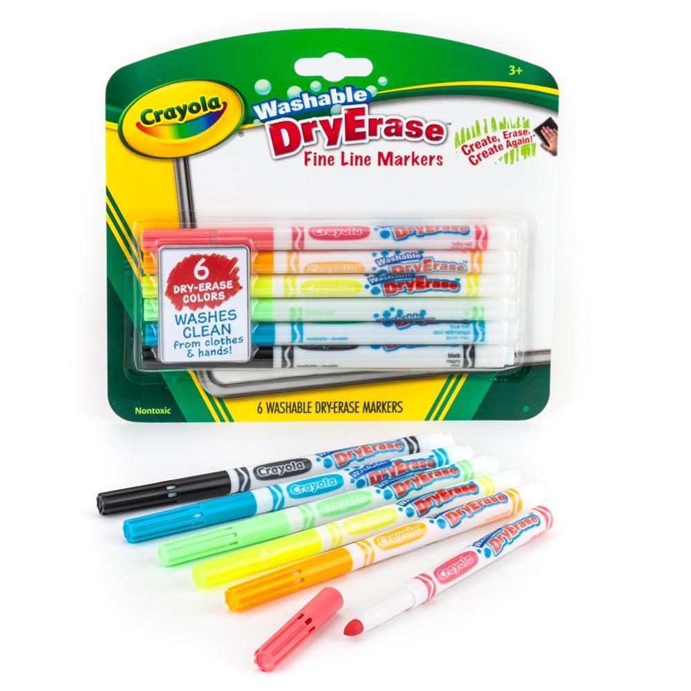 crayola fine line washable dry erase markers 6 count yo yos