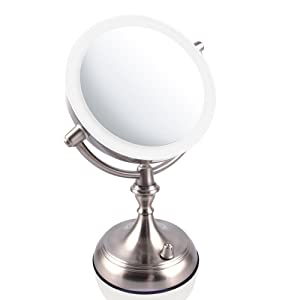 Ovente Wall Mount Led Lighted Makeup Mirror 9 5 Inch
