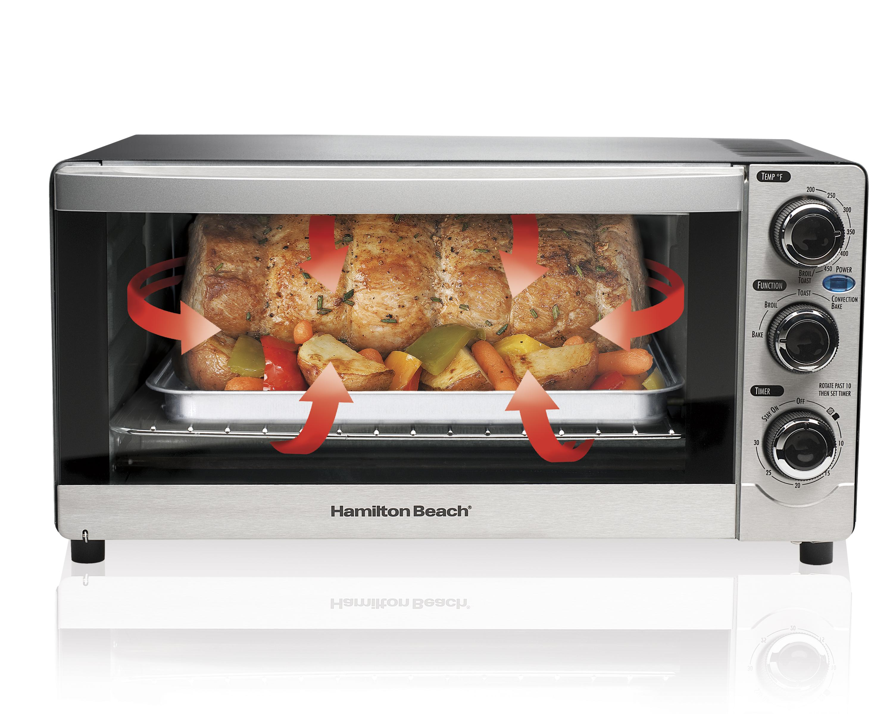 hamilton beach c slice convection toaster oven stainless  - view larger