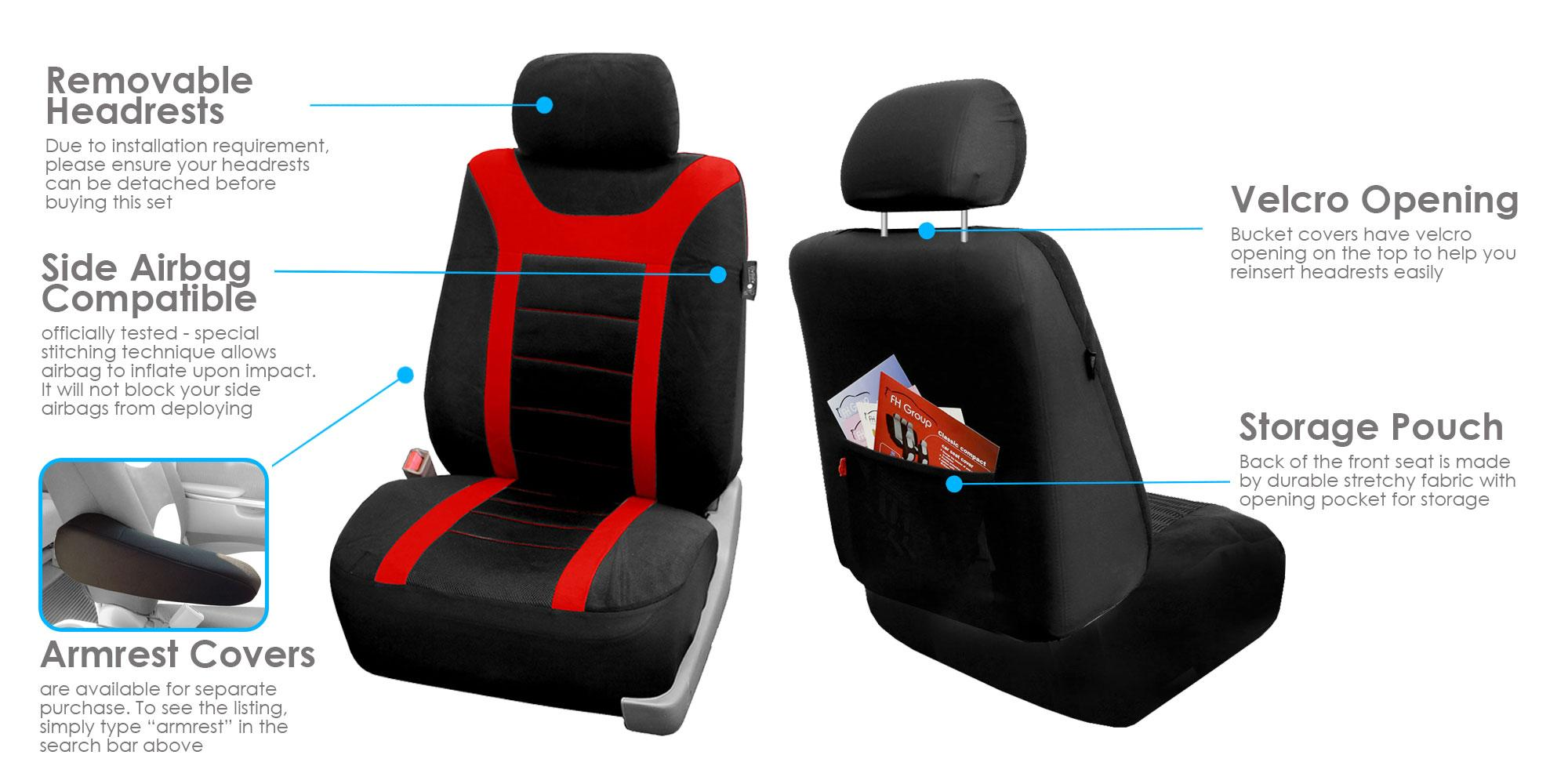 fh group universal fit full set sports fabric car seat cover with airbag split ready red. Black Bedroom Furniture Sets. Home Design Ideas