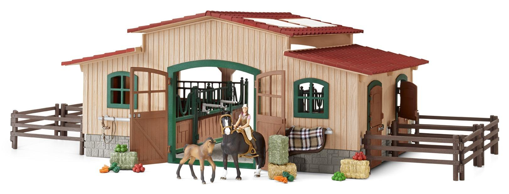schleich horse stable with accessories figures amazon. Black Bedroom Furniture Sets. Home Design Ideas