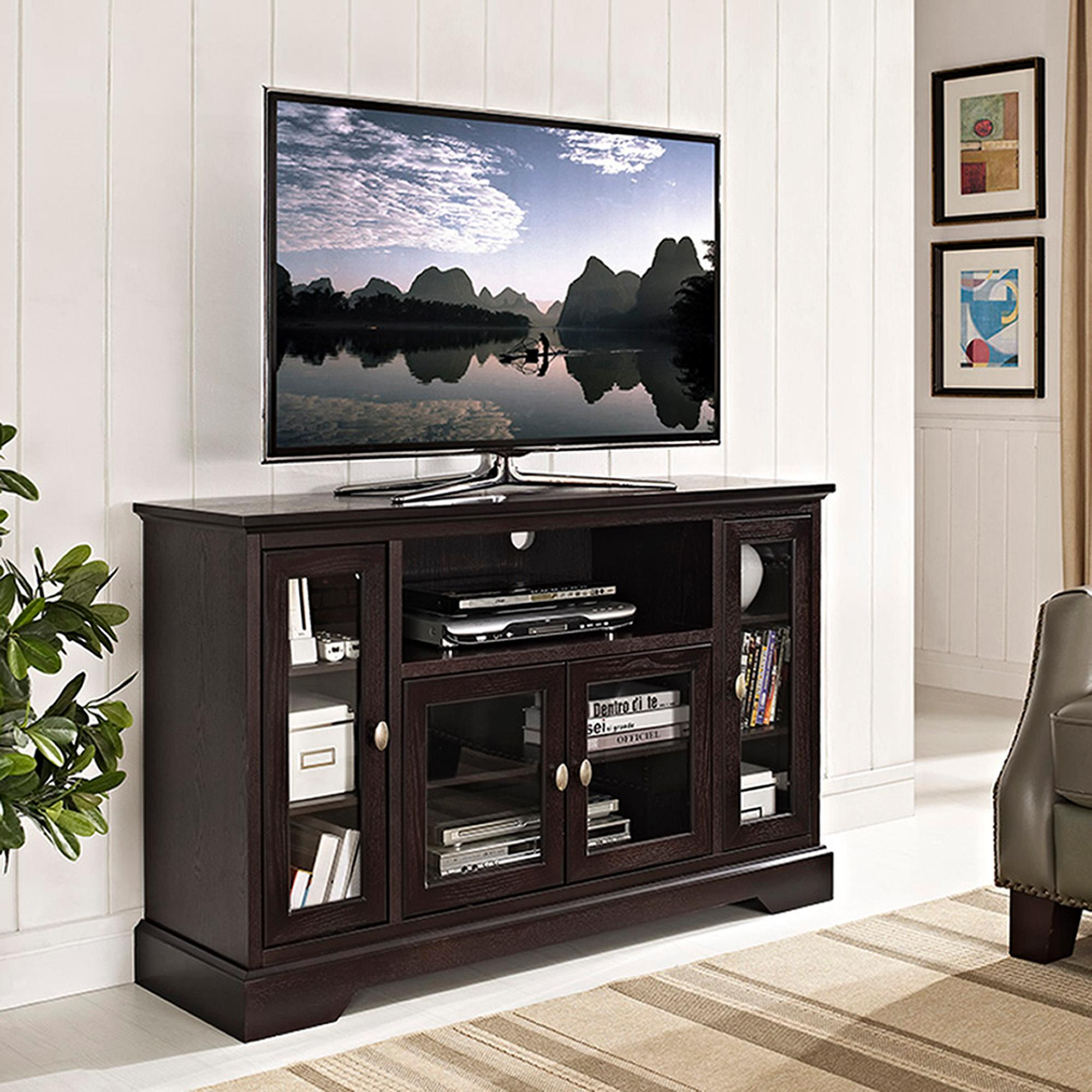 Walker Edison Furniture 52-Inch Highboy Style Wood TV Stand, Black ...