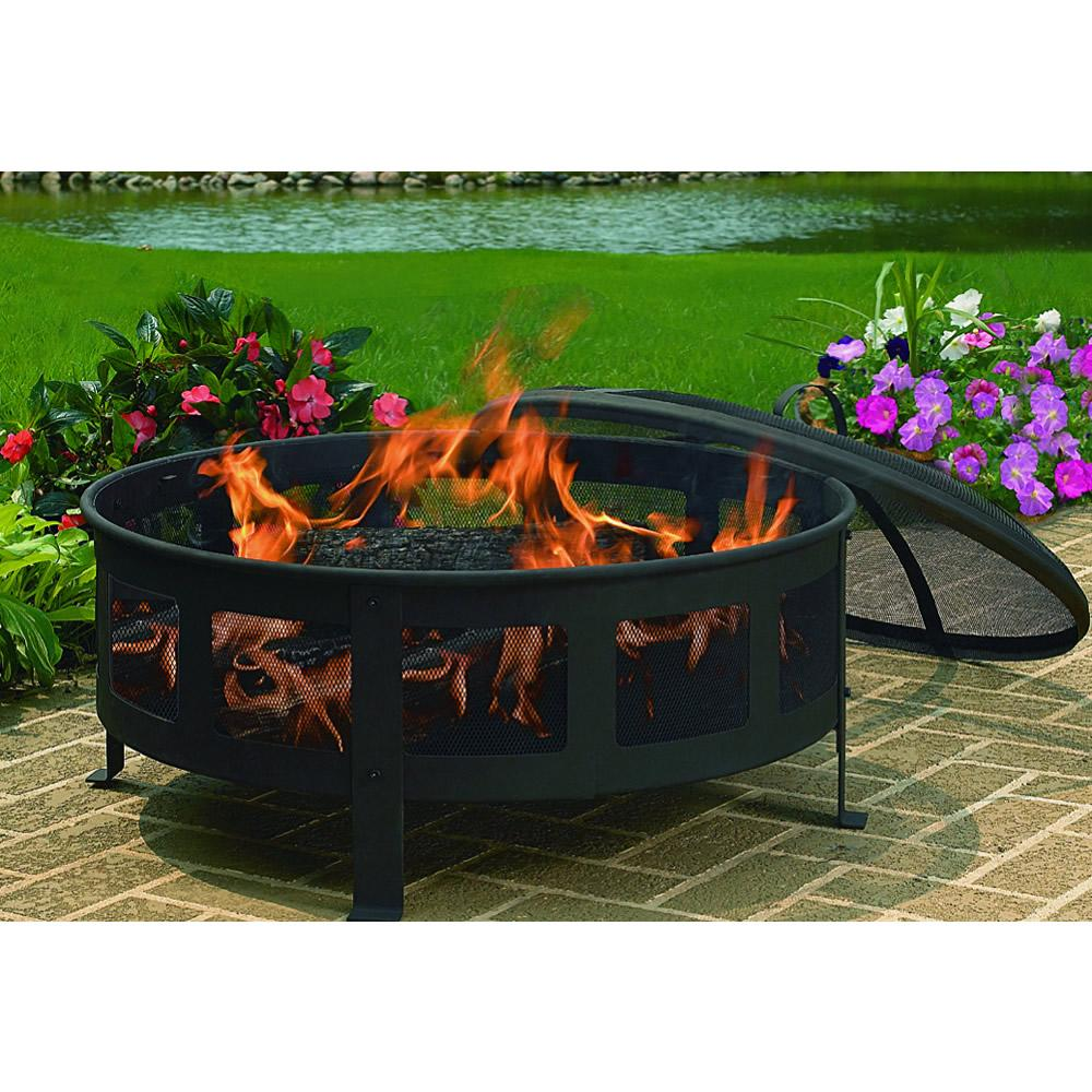 Patio Lights Amazon Ca: CobraCo Round Bravo Fire Pit With Screen And Cover FB6540