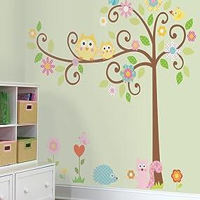 scroll tree wall decals, scroll tree wall stickers