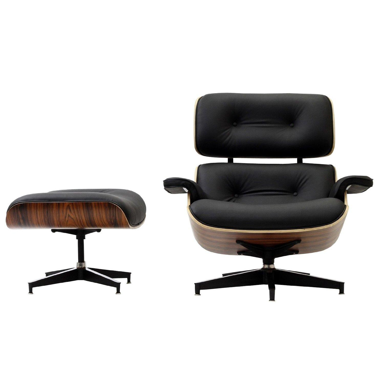 LexMod Eaze Lounge Chair In Black Leather And Palisander
