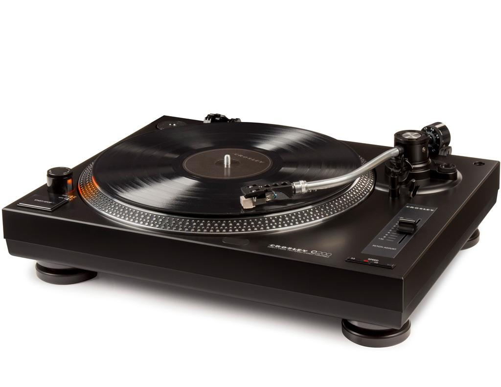Crosley c200a bk direct drive turntable record table with for Direct drive turntable motor