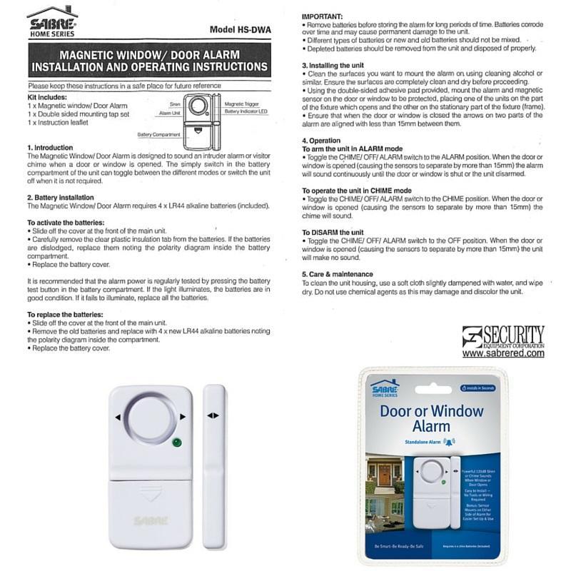 Sabre Wireless Home Security Door Window Burglar Alarm With Loud 120