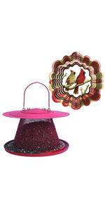 Perky-Pet Cardinal Wild Bird Feeder and Cardinal Pair Wind Spinner Set, Red