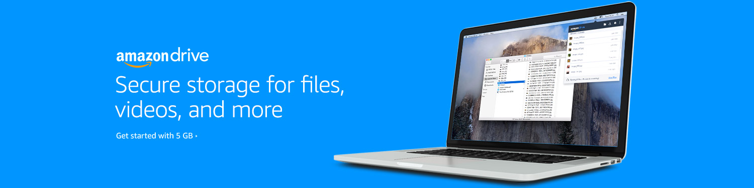 Amazon Drive: Secure storage for files, videos, and more; get started with 5 GB
