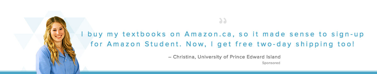 Christina joined Amazon Student for free two-day shipping.