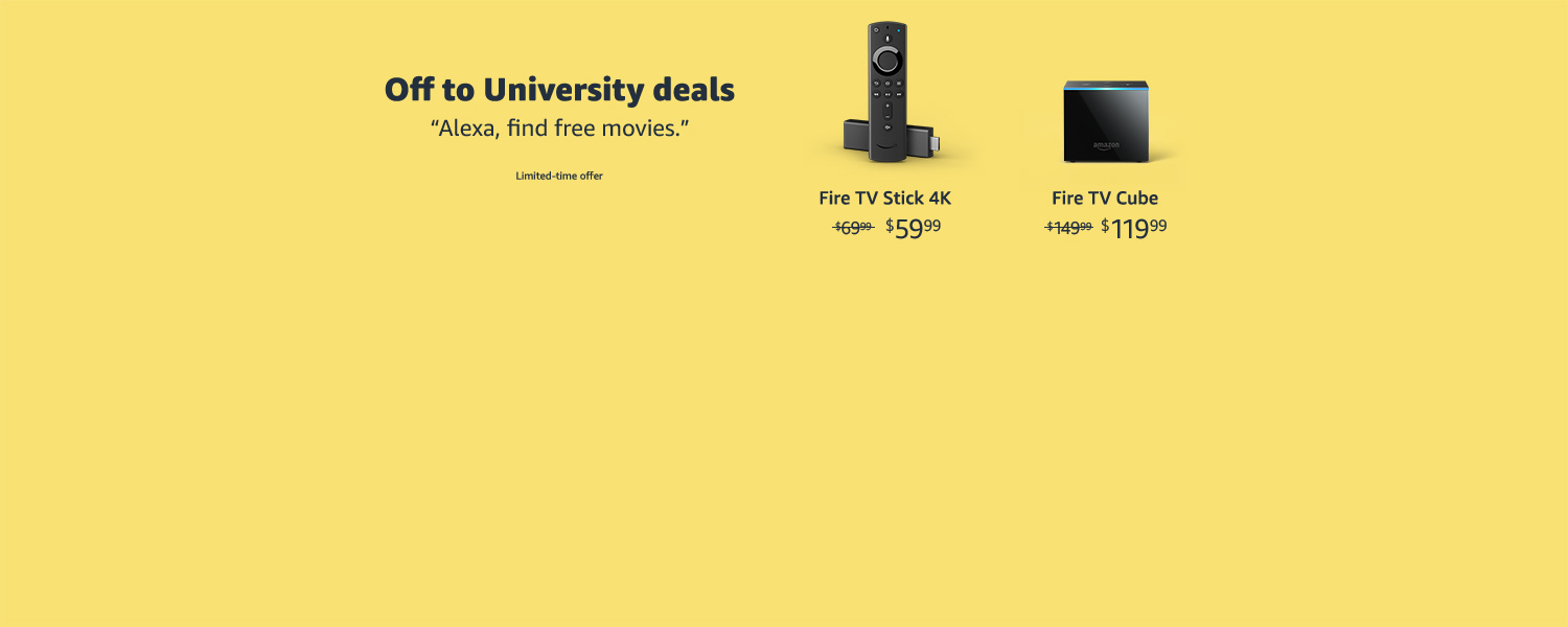 Off to University deals.  Limited-time offer.