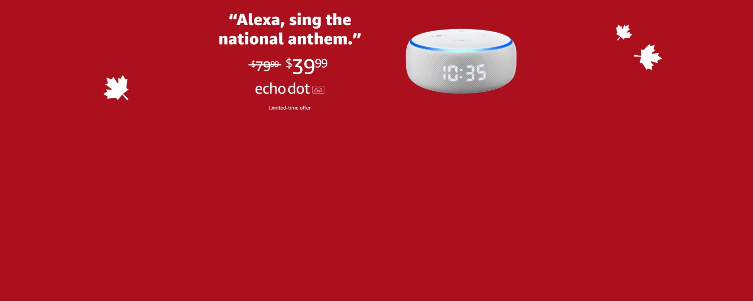 Alexa, sing the national anthem | $39.99 | Echo Dot with clock | Limited-time offer