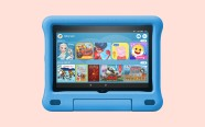 Fire HD 8 Kids Edition on coral background. On sale for $129.99 was $179.99
