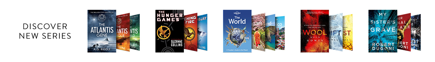 Discover a new series with eBooks including A. G Riddle's The Atlantis Gene, Suzanne Collin's The Hunger Games, Lonely Planet, Hugh Howey's Wool, or Robert Dugoni's My Sister's Grave