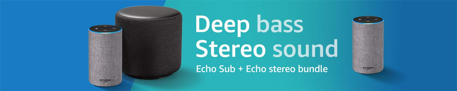 All-new Echo Sub + Echo stereo bundle | Deep bass, stereo sound