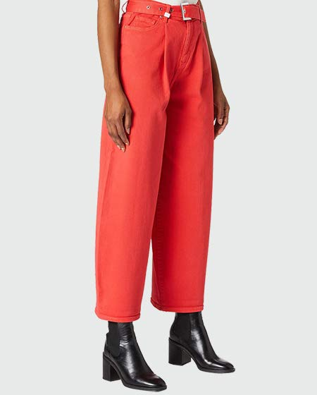 Armani Exchange Red Balloon Fit Rolled Up Bottom Leg Jeans