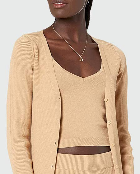 The Drop Women's Anya Fitted Rib Cardigan Sweater