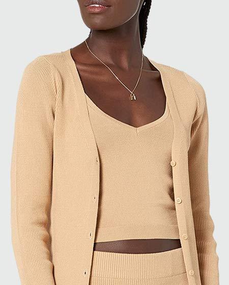 The Drop Women's Anya Fitted Rib Cardigan Sweater