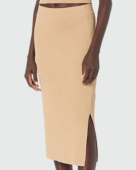 The Drop Women's Vera Slim Side Slit Midi Sweater Skirt