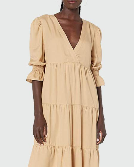 The Drop V-Neck Tiered Midi Dress