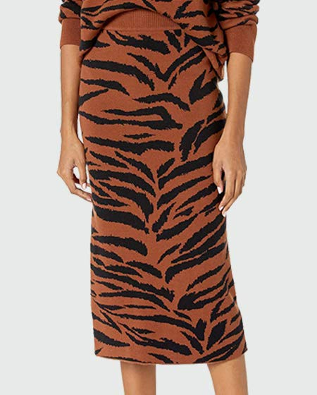 The Drop Animal Print Midi Sweater Skirt