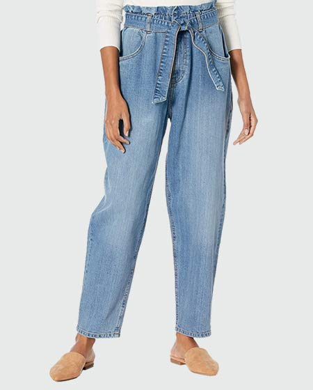 The Drop High-Waist Belted Tapered Jean