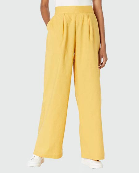 The Drop Wide Leg Cotton Linen Pull-On Pant