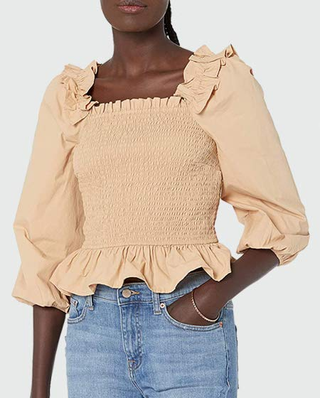 The Drop Women's Marisol Long Sleeve Ruffle Smocked Top