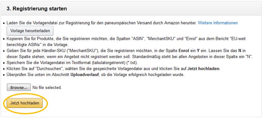 Paneuropäischer Versand durch Amazon: Erste Schritte