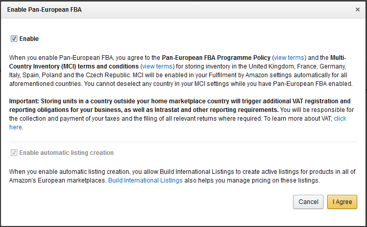 Enable Pan European FBA