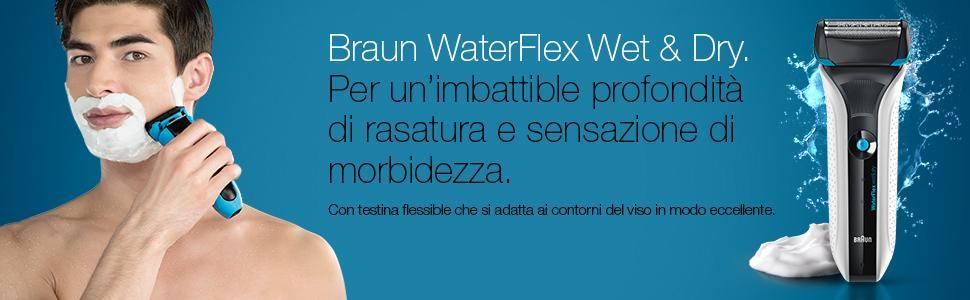 Braun Rasoio elettrico WaterFlex WF2s Wet & Dry con testina girevole, bianco
