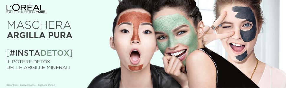 Maschera viso, Argilla Pura, L'Oréal Paris, argille minerali, Instant Detox, innovazione