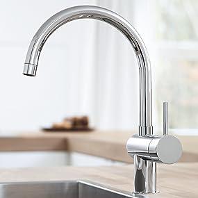 rubinetto da cucina grohe minta raggio di rotazione 0150360