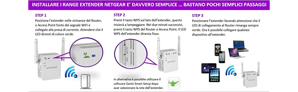 Netgear WN3000RP-200PES Range Extender Universale Wi-Fi N300 Mbps, Access Point