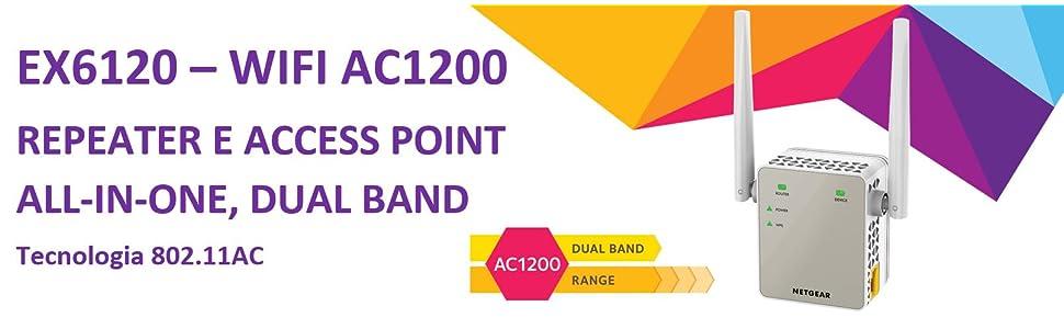 Netgear EX6120 Range Extender Wi-Fi, AC1200 Mbps, Dual Band, Access Point
