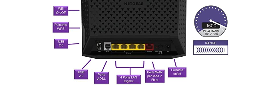 Netgear D6400-100PES Modem Router Wireless, VDSL/ADSL AC1600, Dual Band, 5 Porte