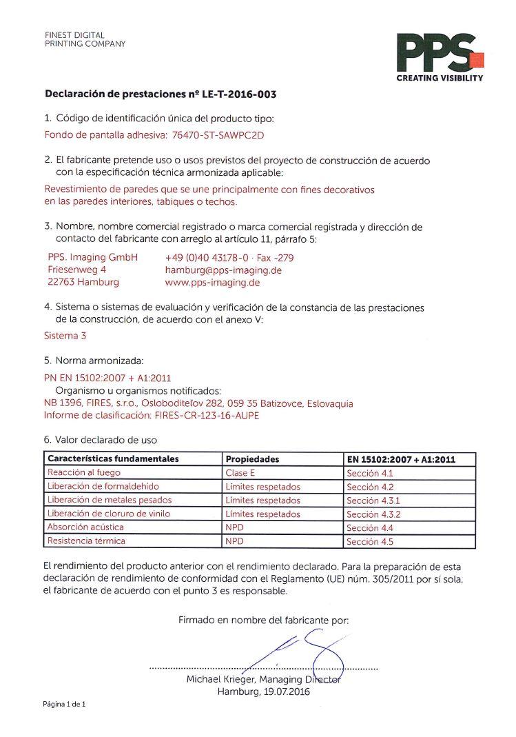 Declaratión de prestaciones II