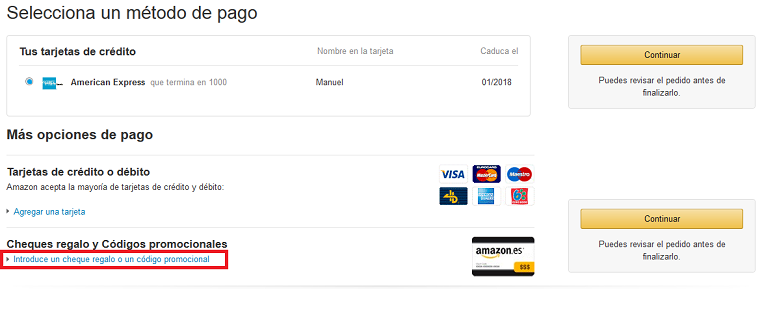Usar Cheque Regalo Amazon