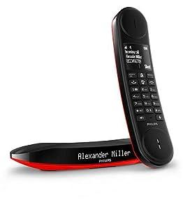 Philips M6601RB/23 - Teléfono fijo digital (diseño único, 18 h de conversación, manos libres), color rojo y negro: Amazon.es: Electrónica