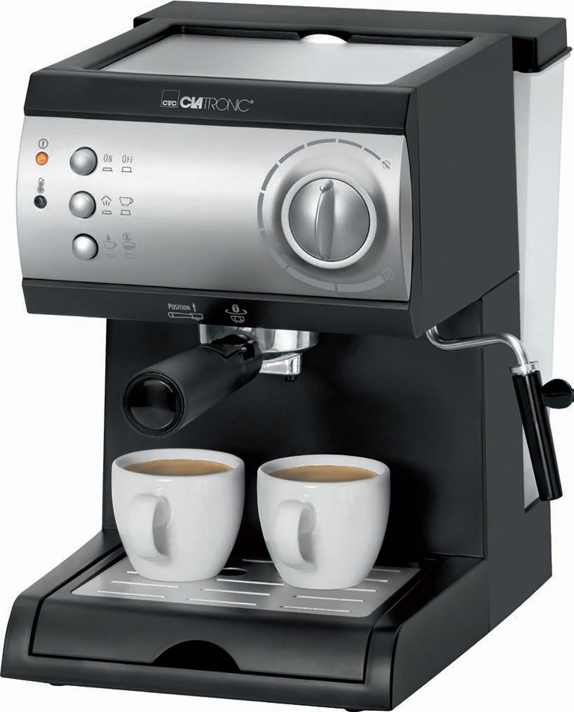 Clatronic ES 3584 Cafetera Espresso de 15 Bares de presión, 1,5 litros, 1050W, 1050 W, 1.5 litros, Plástico, Negro y plata