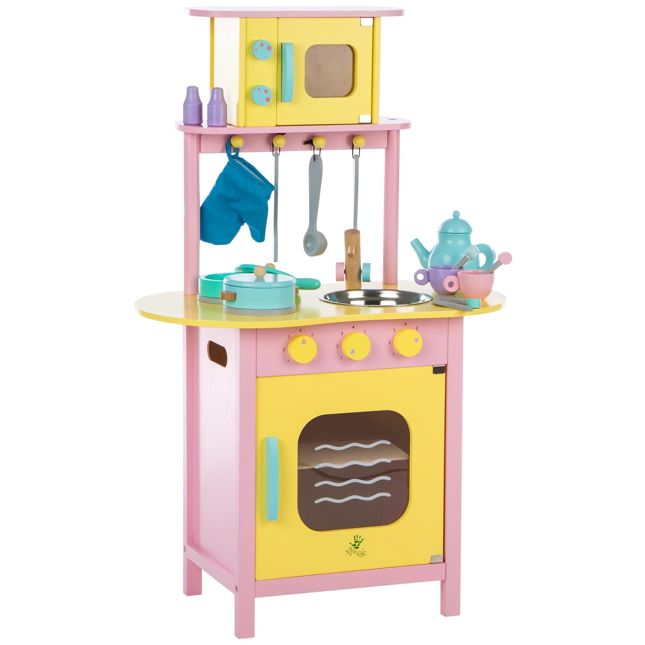 Ultrakidz cocinita de juguete de madera con horno y for Utensilios de cocina para microondas