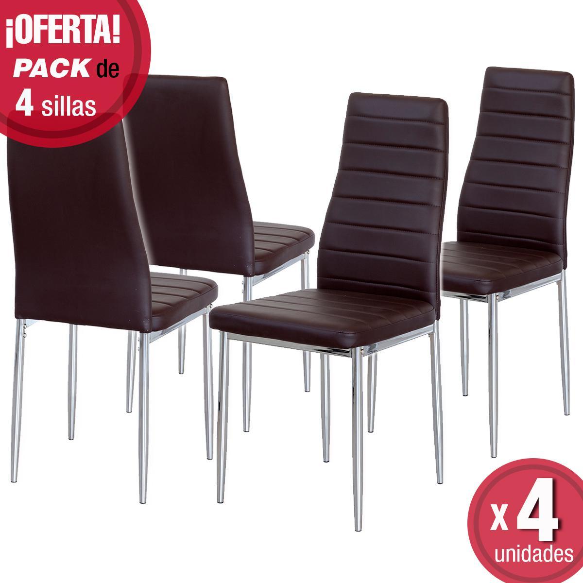 Pack de 4 sillas de comedor b sica tapizada polipiel y for Sillas cromadas para comedor