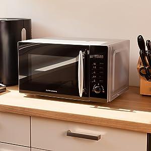 Ultratec MWG200 - Microondas con grill, 700/1000 W, 8 programas, capacidad de 20 litros, función de descongelación, plato giratorio, temporizador de ...