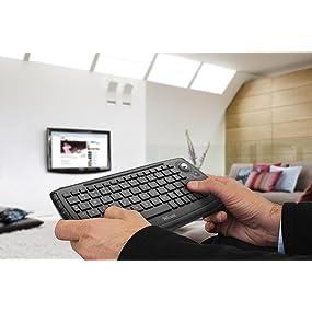 Trust - Teclado Multimedia Inalámbrico con Trackball para Controlar la Smart TV, PC o Playstation, Negro: Trust: Amazon.es: Informática