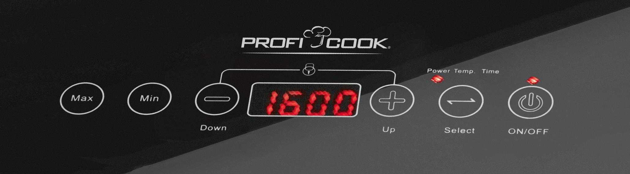 Proficook Eki 1062 Placa vitrocerámica por inducción portátil, 10 Niveles de Temperatura, Negro