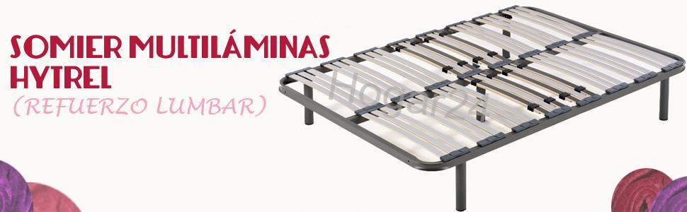 HOGAR24 Somier multiláminas con reguladores lumbares, Haya, 135x190 cm-Patas 26cm