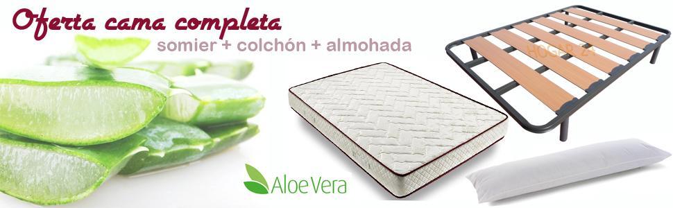 Colchón Viscoelástico Viscoferta + Somier De Lama Ancha Reforzado Con Tacos Anti-Ruido Con 4 Patas + Almohada De Fibra Resinada (140x180 - Patas 26 ...