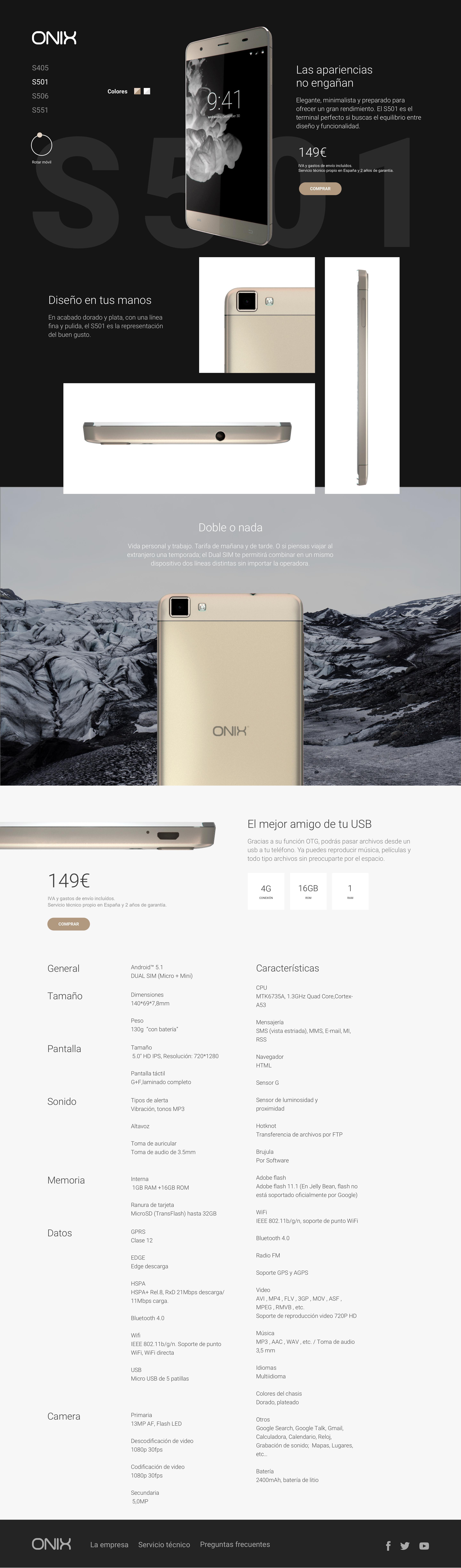 Onix S551 - Smartphone de 5.5