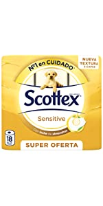 ... Papel higiénico Scottex Sensitive 18 rollos ...