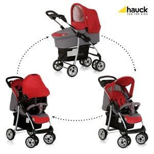 Hauck Shopper Trio Set - Carrito con capazo y grupo 0+, color gris/rojo